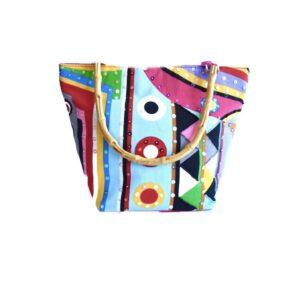Colorful Cloth Bag W/Bamboo Handle