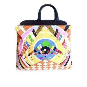 Colorful Bag W/Wood Handle