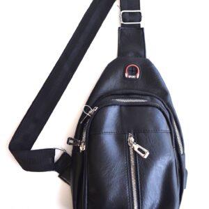 Leather Cross Body Bag Backpack W/5 Pockets & Adjustable Strap
