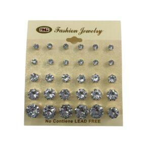 Multi Size Stud Trim Earrings 15 Pack