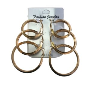 3 Sizes Thick Gold Hoop Earring